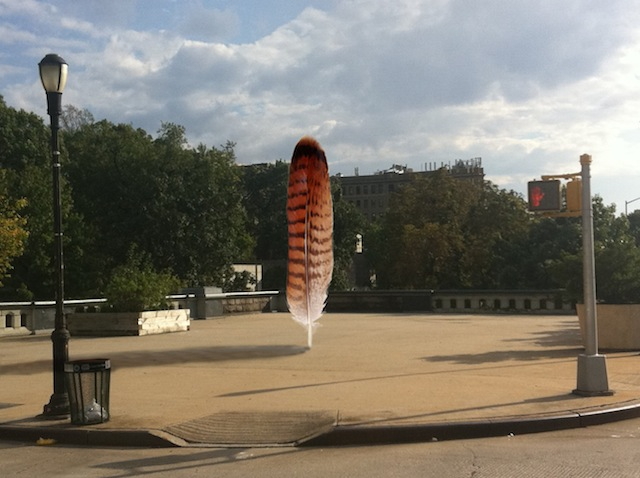 "Petros Chrisostomou, digital rendering of ""Sky Feather"" public art project at 124th & 125th streets in Harlem. It's scheduled to fly in April 2014. (image courtesy the artist)"