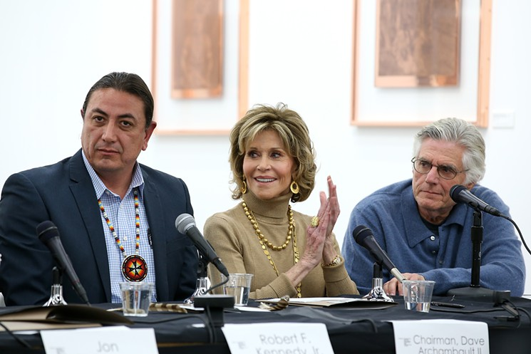 Dave Archambault II, Jane Fonda and Bruce Kapsan spoke at the first public conversation in Los Angeles about the Dakota Access Pipeline. Getty Images/Courtesy Depart Foundation