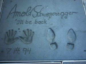 Schwarzenegger's hand- and footprint proto-selfies in front of Grauman's Chinese Theater (image via Wikipedia)