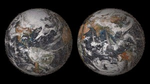 The 3.2 gigapixel Global Selfie mosaic, hosted by GigaPan, was made with 36,422 individual images that were posted to social media sites on or around Earth Day, April 22, 2014. (via NASA)