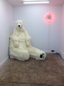 Diego Leclery as polar bear (photo by the author for Hyperallergic) (click to enlarge)