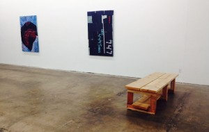 "Brendan Fowler, from left to right: ""[To be titled]"" (2014), ""Going Home Early"" (2013) and ""Bench"" (2014) (all photos by the author for Hyperallergic)"