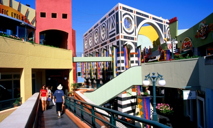 Jon Jerde created ultimate consumer playgrounds. Horton Plaza in downtown San Diego, with its post-modernist colour scheme and split level walkways, has been likened to an Escher drawing. Photograph: Anthony Pidgeon/Getty Images/Lonely Planet Image