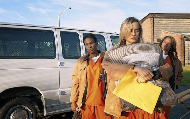"Barbara Nitke for Netflix. Vicky Jeudy, left, Taylor Schilling and Dascha Polanco deal with life on the inside in the Netflix series ""Orange Is the New Black."" (image via Netflix)"