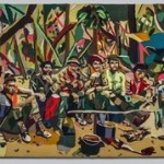 "Donna Huanca, Cuban Rebels (The Last Supper), 2007, fabric on canvas, 8' 4"" x 11' 7""."