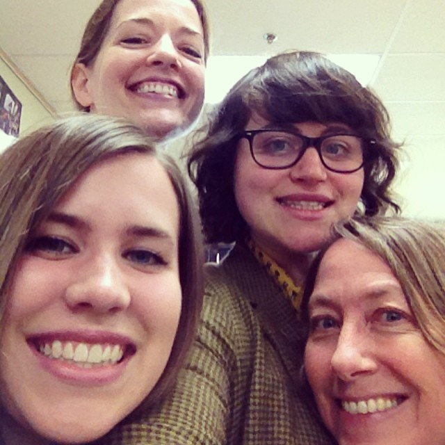 Group selfie with Susan Green, Laura Elisabeth Voth, and Jennifer Dix Brown at Booker T. Washington High School in Tulsa, Oklahoma