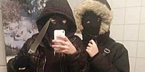 Two adolescent girls snap a selfie before robbing a fast-food restaurant in Sweden (image via Tumblr)